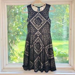 Cream and black shadow dress